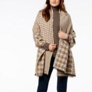 Michael Kors two-tone fringe patchwork wrap scarf